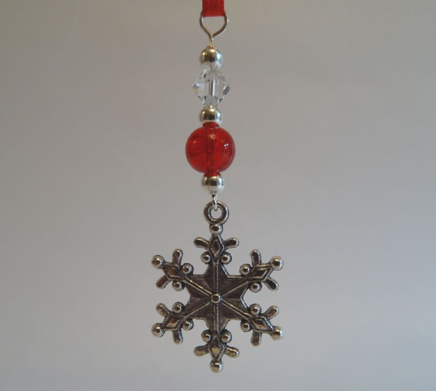 Silver Snowflake, Red Crackle Bead & Crystal - Xmas Tree Decoration